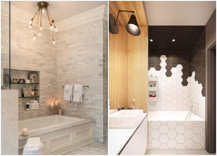 Плитка в ванной комнате: фото в современном стиле
