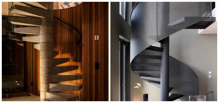 Винтовая лестница на второй этаж в частном доме: фото