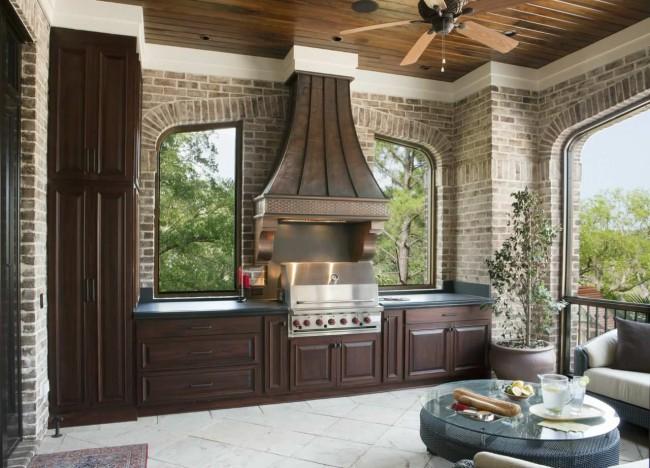 Летняя кухня на даче с барбекю мангалом: фото проекты