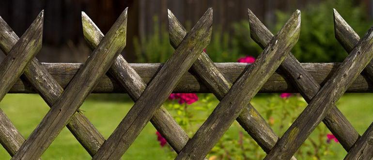сетчатый забор из деревянных досок