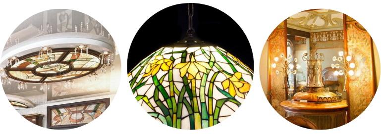 люстры и лампы с витражами