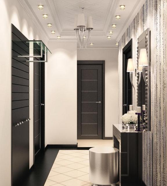 черно-белые цвета в коридоре