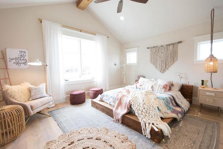 спальня в легком экологичном бохо