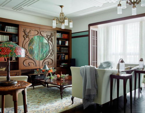 Оттенки зеленого и мебель в стиле модерн